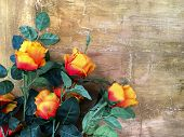 Bunch Of Red Rose With Vintage Wall Background, Grunge Design poster
