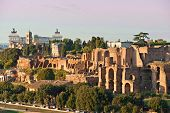 View Of Circus  Maximus And Vittorio Emanuele Monument At Sunset, Rome, Italy
