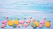 Flamingo ananas cookies for party poster