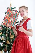 Young woman in traditional costume at christmas