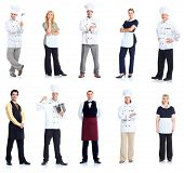 Group of chef man and a waitress woman. Isolated over white background