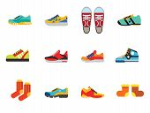 Shoes Icon Set. Sneakers Summer Sandles Sport Boot Trainer Jogging Shoe Gymshoe Running Shoe Footbal poster
