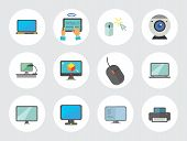 Computer Icon Set. Mouse Tablet Internet Connection Web Camera Open Laptop Desk Monitor Big Monitor  poster
