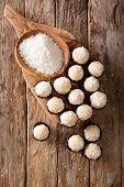 Delicious Coconut Kisses (beijinhos De Coco Or Branquinhos)  - Festive Brazilian Sweets Close-up. Ve poster