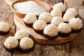 Appetizing Candy Balls Beijinhos De Coco With Condensed Milk And Coconut Close-up. Horizontal poster