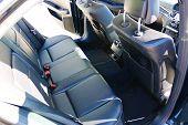 Leather Seats.car Interior. Rear Seats Of A Car Interior. Auto Interior With Back Seats. poster