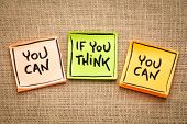 you can if you think you can -  inspiraitonal handwriting on sticky notes against burlap canvas poster