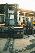 Background Of A Lot Of Forklifts, Reliable Heavy Loader, Truck. Heavy Duty Equipment, Forklift poster