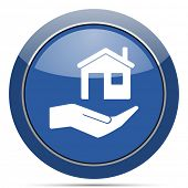 House care round glossy web icon. Blue circle pushbutton illustration on white background. poster