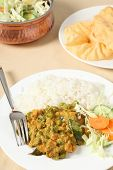 Vegetable Korma And Salad Vertical