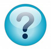 The Glassy Aqua Blue Question Icon Button