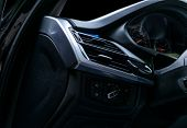 Ac Ventilation Deck In Luxury Modern Car Interior. Modern Car Interior Details With Black Leather An poster