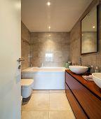 Modern bathroom in a marble designer apartment. Nobody inside poster