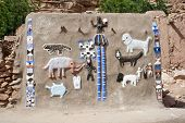 picture of dogon  - Representation on the wall of animals and Dogon masks Mali  - JPG