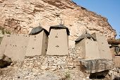 picture of dogon  - Granaries in a Dogon village Mali (Africa). The Dogon are best known for their mythology their mask dances wooden sculpture and their architecture. - JPG