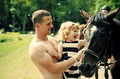 Equine Therapy, Recreation Concept. Friend, Companion, Friendship. Girl With Man Pet Horse On Sunny  poster