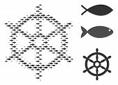 Fish Boat Steering Wheel Halftone Composition. Vector Fish Items Are Arranged Into Boat Steering Whe poster