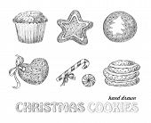 image of hand drawn  - Collection of hand drawn Christmas cookies - JPG