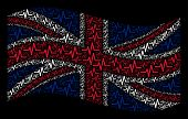 Waving English State Flag On A Black Background. Vector Pulse Elements Are Scattered Into Mosaic Bri poster