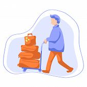 Man With Luggage Trolley Flat Style Vector Illustration. Tourist With Many Travel Cases. Travelling  poster