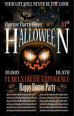 Flyer de festa Halloween Horror com sangue cai sobre a composição, grunge background e jack l