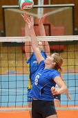 KAPOSVAR, HUNGARY - OCTOBER 2: Unidentified players in action at a Hungarian NB I. League volleyball