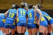 KAPOSVAR, HUNGARY - OCTOBER 2: Kaposvar players before a Hungarian NB I. League volleyball game Kapo