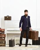 Man, Traveller With Beard And Mustache With Luggage, Luxury White Interior Background. Luggage And V poster