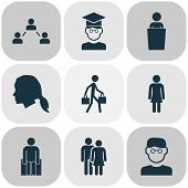 Human Icons Set With Smart Man, Student, Social Relations And Other Human Elements. Isolated Vector  poster