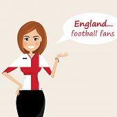 England Football Fans.cheerful Soccer Fans, Sports Images.young Woman,pretty Girl Sign.happy Fans Ar poster