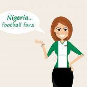 Nigeria Football Fans.cheerful Soccer Fans, Sports Images.young Woman,pretty Girl Sign.happy Fans Ar poster