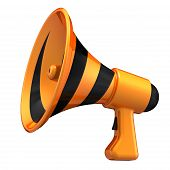 Megaphone News Blog Loudspeaker. Communication, Announce Attention Symbol. Bullhorn Striped Black Or poster