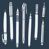 Sketchy Doodles Set Of Hand-drawn Outline Writing And Drawing Utensils , Tools, Supplies For School  poster
