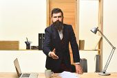 Serious Businessman Welcoming. Handshaking. Portrait Of Considerable Bearded Businessman. Serious Bu poster