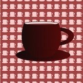Coffee cups background with big cup in the middle