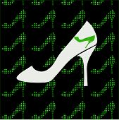 Black background with green shoes