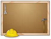 stock photo of pegboard  - A pegboard on the wall in a construction worker - JPG