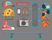 Skateboard Fingerboard Icon Vector Sport Equipment. Fun Modern Print Skating Transportation Decorati poster