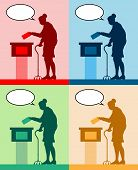 Old Woman Voter Silhouettes With Different Colored Speech Bubble By Voting For Election. All The Sil poster