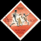 Esgrima en sello de correos