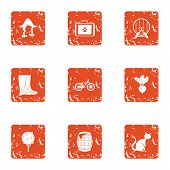 Rural Life Icons Set. Grunge Set Of 9 Rural Life Vector Icons For Web Isolated On White Background poster