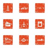 Filling Machinery Icons Set. Grunge Set Of 9 Filling Machinery Vector Icons For Web Isolated On Whit poster