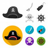 Pirate, Bandit, Cap, Hook .pirates Set Collection Icons In Monochrome, Flat Style Vector Symbol Stoc poster