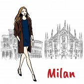 Hand-drawn Sketch Of Woman In Milan At Piazza Del Duomo In Italy. poster