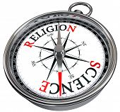 Science Versus Religion Concept Compass
