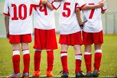 Постер, плакат: Football Children Team Kids Soccer Substitute Players Standing Together On A Row Football Sports T