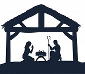Traditional Christmas Nativity Scene Of Baby Jesus In The Manger With Mary And Joseph In Silhouette poster