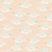 Fish Beige Soft Pastels Aquatic Seamless Vector Pattern. Cute Fish Soft Background. poster