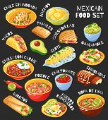 Traditional Mexican Food Menu Items Set With Tacos Burritos Chili Con Carne Guacamole Chalkboard Bac poster