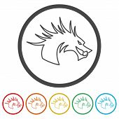 Dragon Mascot, Black Silhouette Of Dragon, 6 Colors Included poster